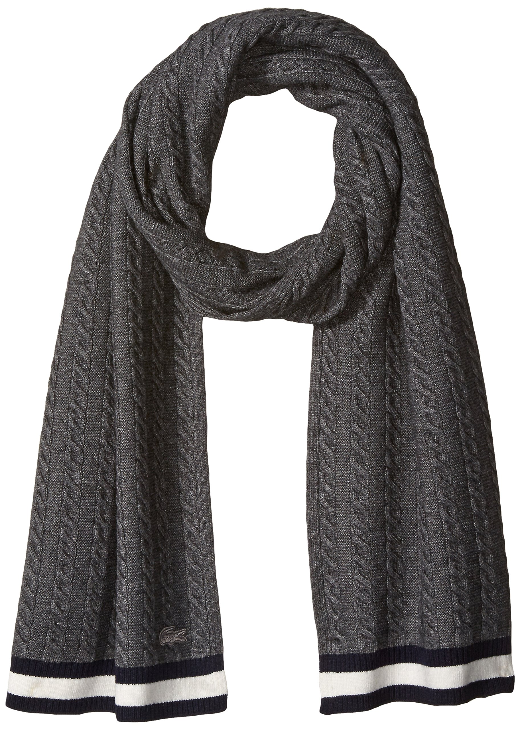 Lacoste Women's Cable Knit Stitch Knitted Scarf, Asphalt Chine/Flour/Navy Blue, One Size