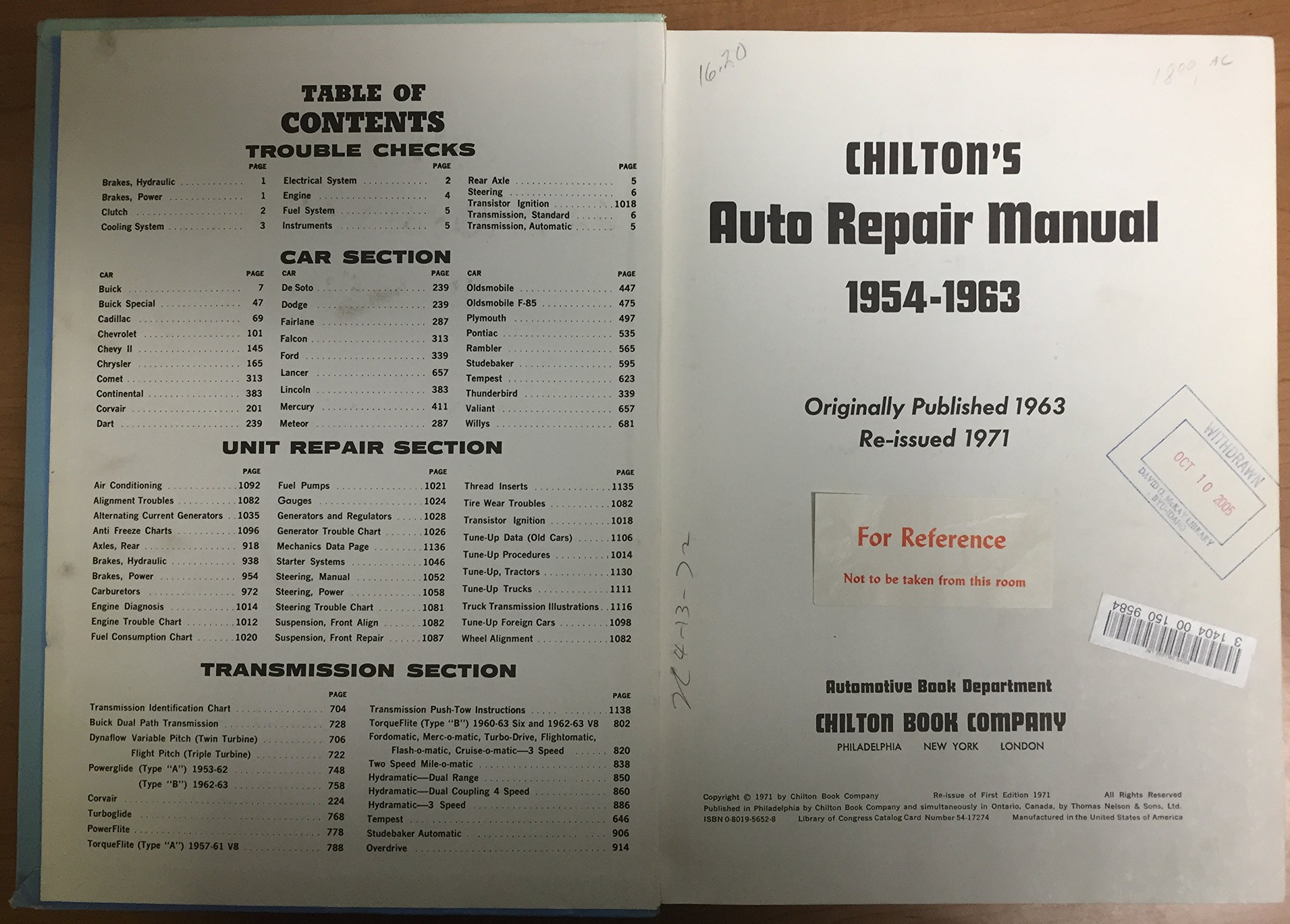Chilton's Auto Repair Manual -- 1954-1963 (For Earlier Model American Cars):  Editors of Chilton Book Company: Amazon.com: Books