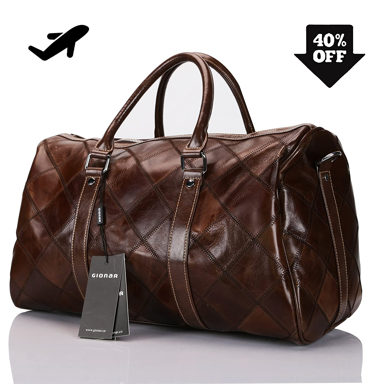 Amazon.com   Genuine Leather Travel Duffel Bag Weekender Overnight Carry On  Luggage Luxurious Vintage Leather Perfect Fit to Airplane Underseat (Brown)  ... 61895ae2ba