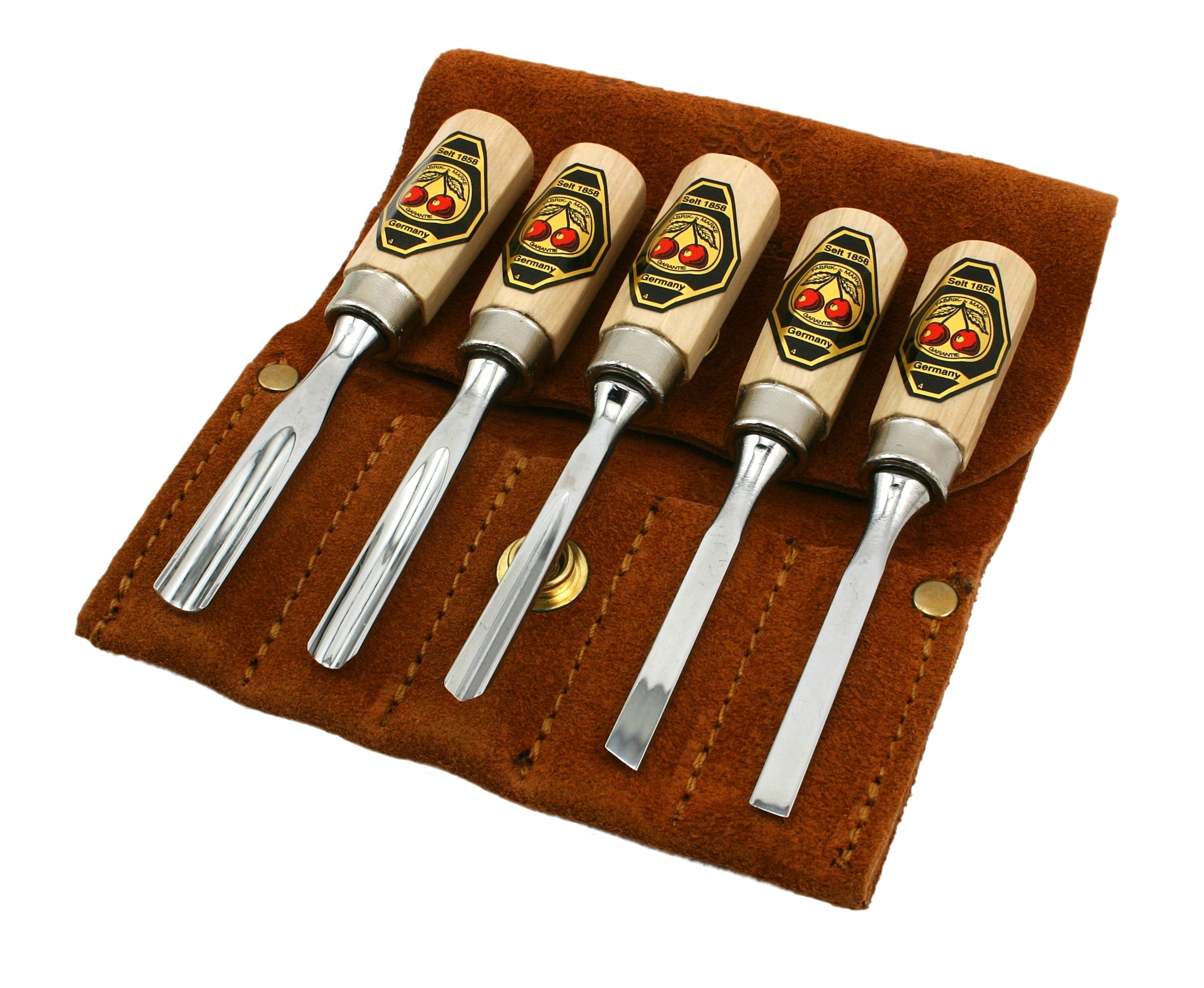 Two Cherries 515-8575 5-Piece Small Wood Carving Tool Set with Leather Pouch