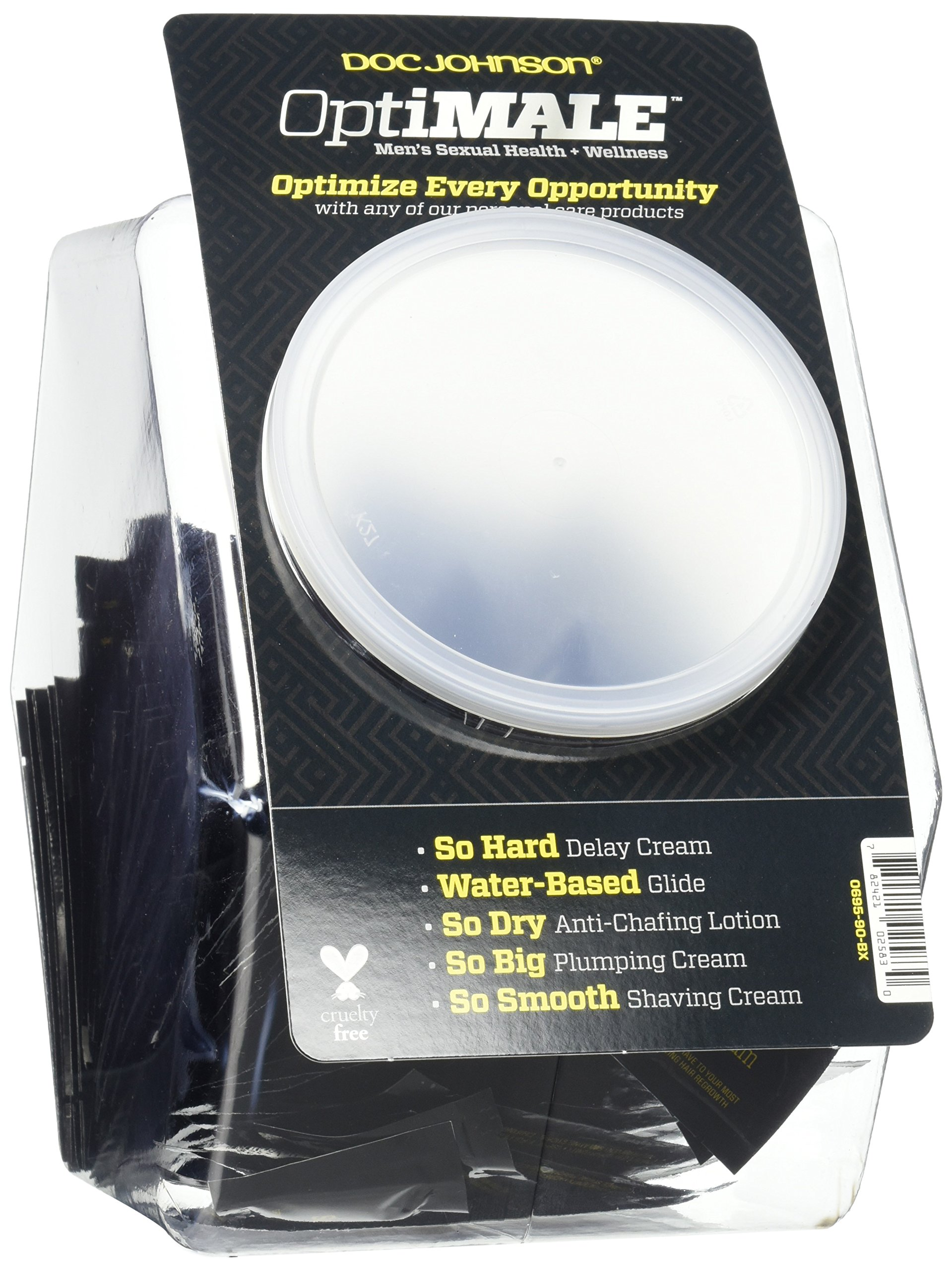Doc Johnson OptiMALE - Personal Care Fishbowl - 120 Assorted Pouches - Water-Based Glide, So Hard, So Dry, So Big, So Smooth