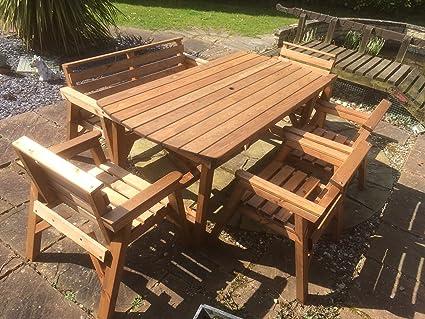 Amazonde Gartenmöbel Set 1 Tisch 1 Bank Und 4 Stühle Massivholz