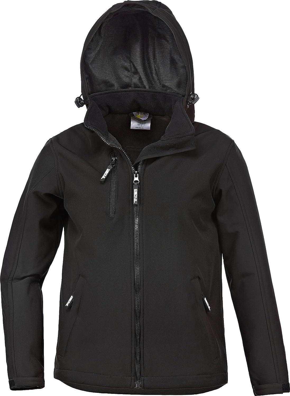 Kinder - Softshelljacke -Übergangsjacke-Wetterjacke + abnehmbare Kapuze schwarz Gr.98-164