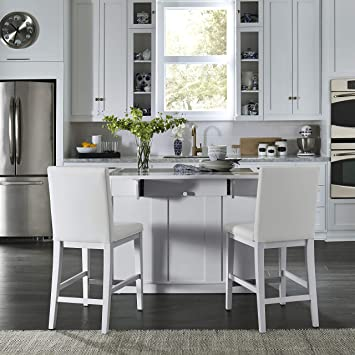 Amazon Com Linear White Kitchen Island And Stools By Home Styles