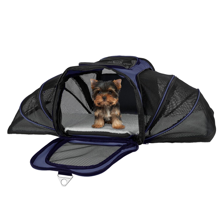 Navy PETMAKER Airline Compliant Expandable Pet Carrier-17.5 x11 x11.25  Travel Bag-Has View Window, Removable Pad, Leash, Detachable Strap by (Navy)