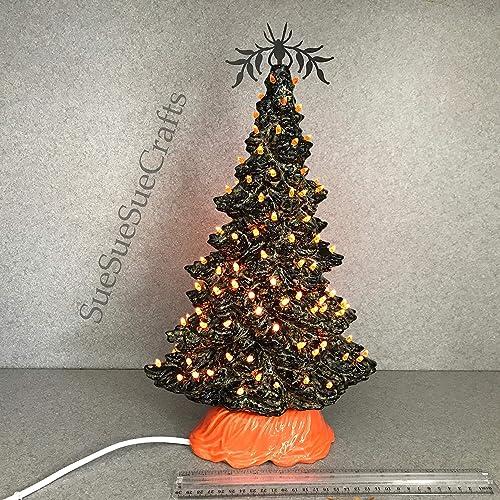 Amazon Com Halloween Ceramic Tree 15 Inches Tall Orange Colored