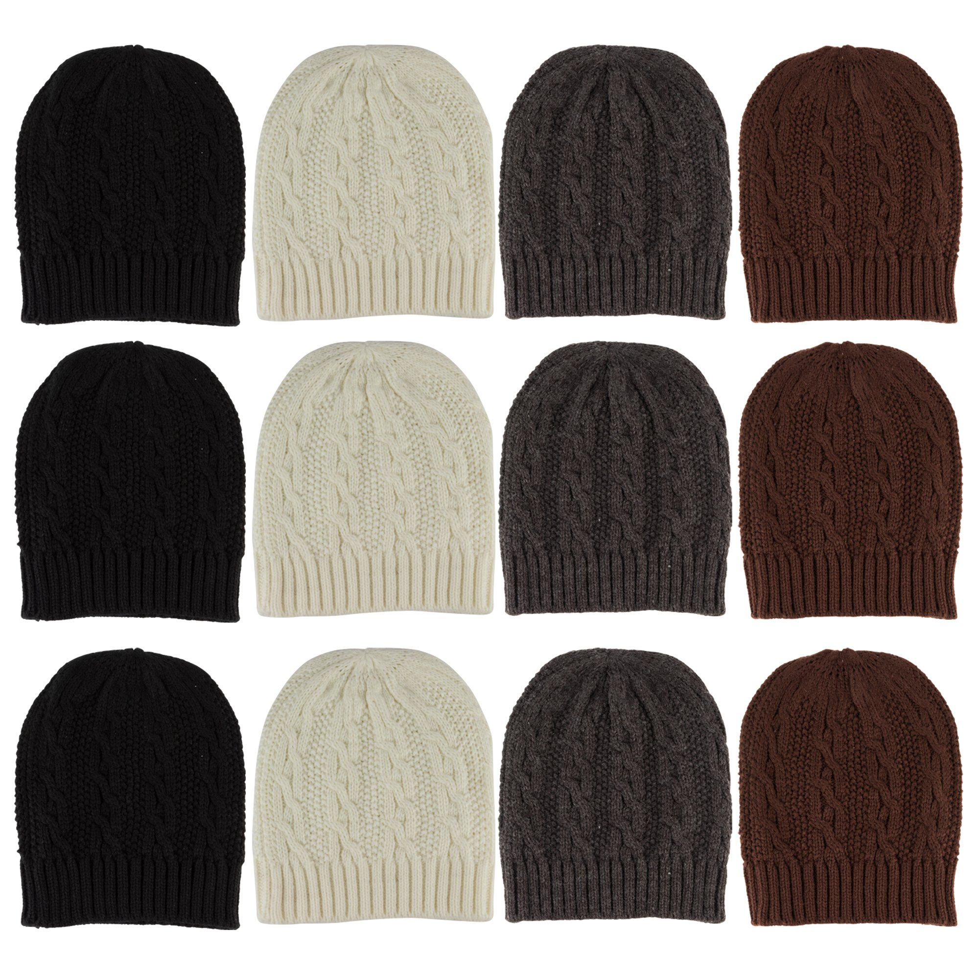 YACHT & SMITH Mens Womens Warm Winter Hats in Assorted Colors, Mens Womens Unisex (12 Pack Cable Knits) by YACHT & SMITH
