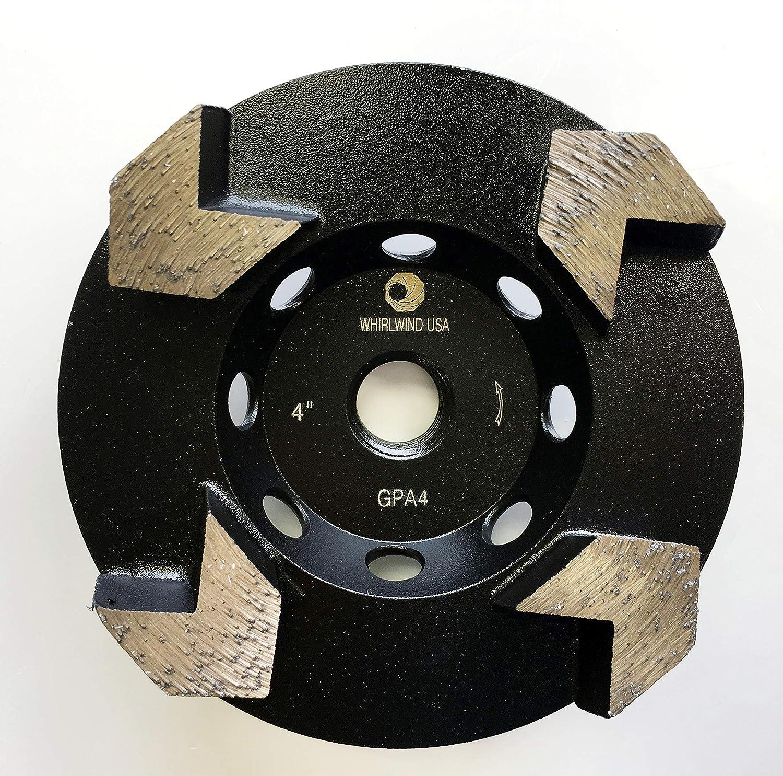 4 Whirlwind USA GPA 4-inch Diamond Grinding Cup Wheel Premium Arrow-Shaped Segmented Cup