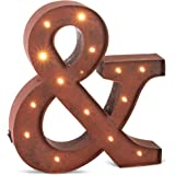 "The Gerson Company 12'' Rustic Brown Lighted Metal Letter ''&"" with 14"" Warm White LED"