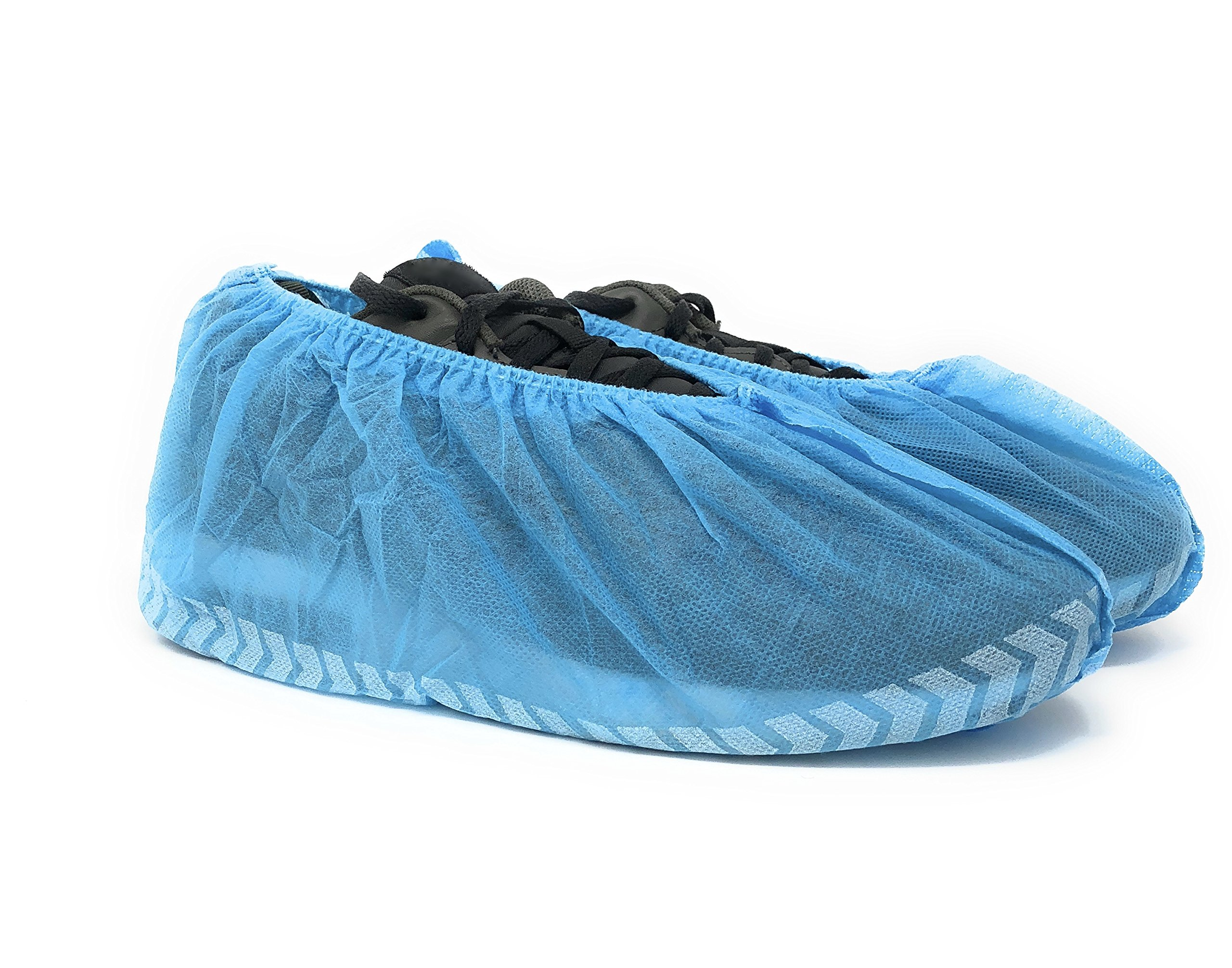 SafeBasics Non Skid Disposable Shoe Covers, Durable, Water Resistant, One Size Fits Most (100)