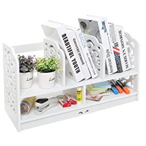 MyGift 23 Inch Freestanding Book Case, 5 Compartments Decorative Display Shelf Rack, White