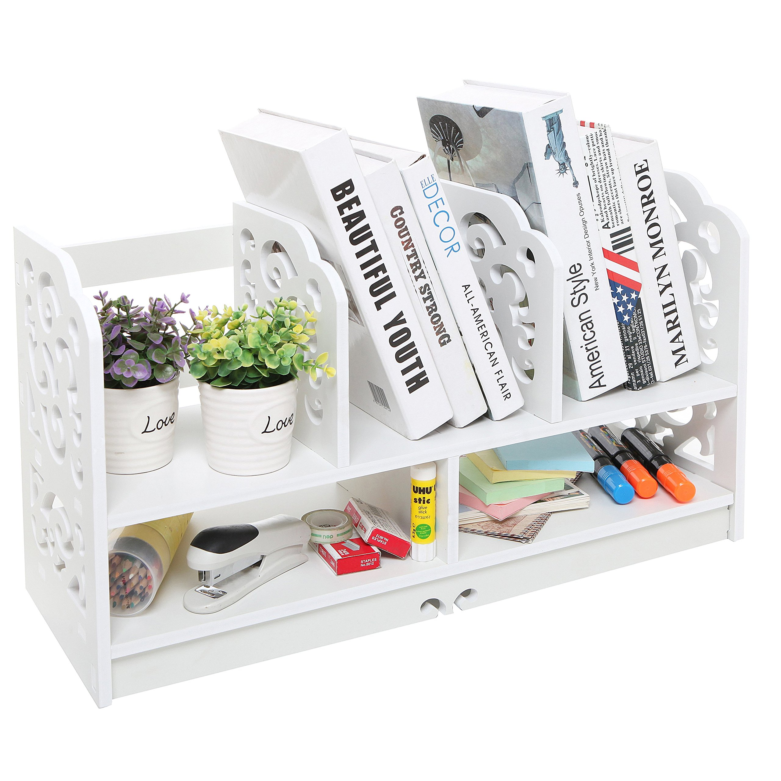 MyGift Freestanding 23 Inch Book Case, Decorative Display Shelf Rack, White