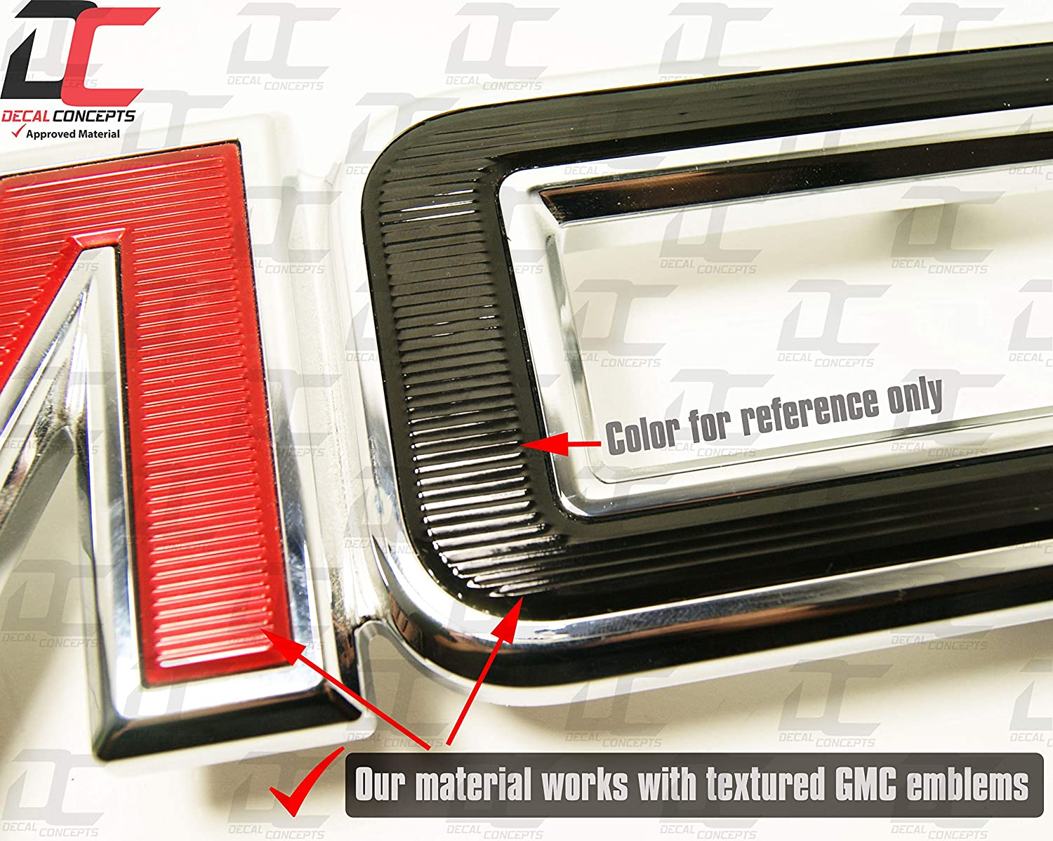 2 Kits Decal Concepts GMC Sierra//Yukon Black Carbon Fiber Front and Rear Grill Emblem Overlay Wrap Kit- 7-17