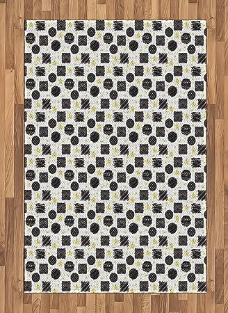 Amazon Com Ambesonne Black And Yellow Area Rug Scribble Art Theme