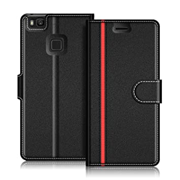 COODIO Funda Huawei P9 Lite con Tapa, Funda Movil Huawei P9 Lite, Funda Libro Huawei P9 Lite Carcasa Magnético Funda para Huawei P9 Lite, Negro/Rojo