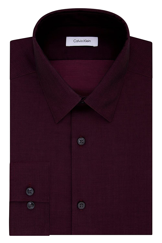 Calvin Klein Men's Slim Fit Non-Iron Herringbone Point Collar Dress Shirt Calvin Klein Dress Shirts 33K2479