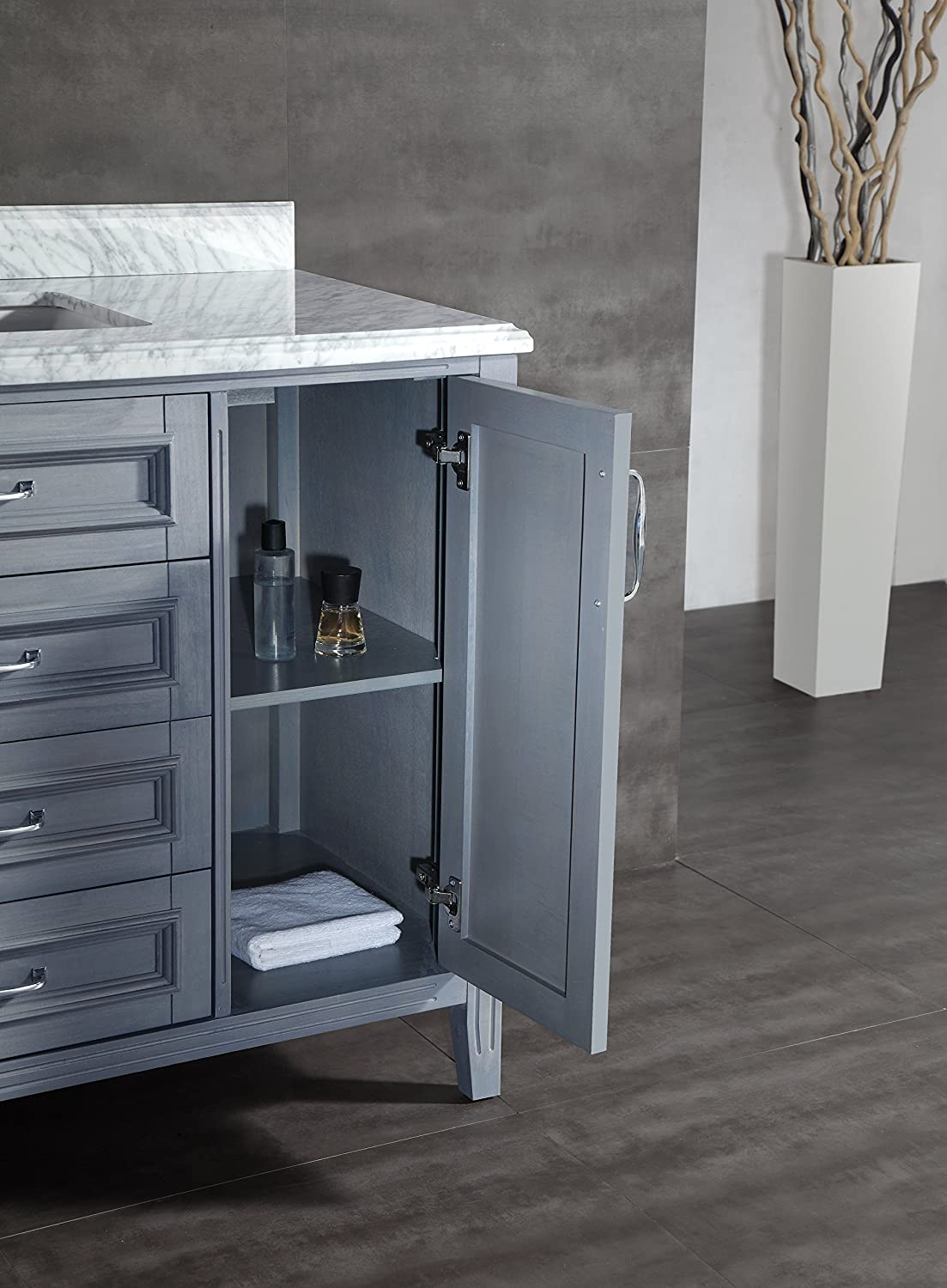 bathroom vanity grey. Ove Decors Daniel 48 Gray Bathroom Vanity in with Carrera Marble  Top Inch Wide Amazon com