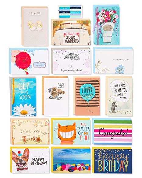 American Greetings Premium Multi Occasion Greeting Cards Set With Organizer Pack Of 16