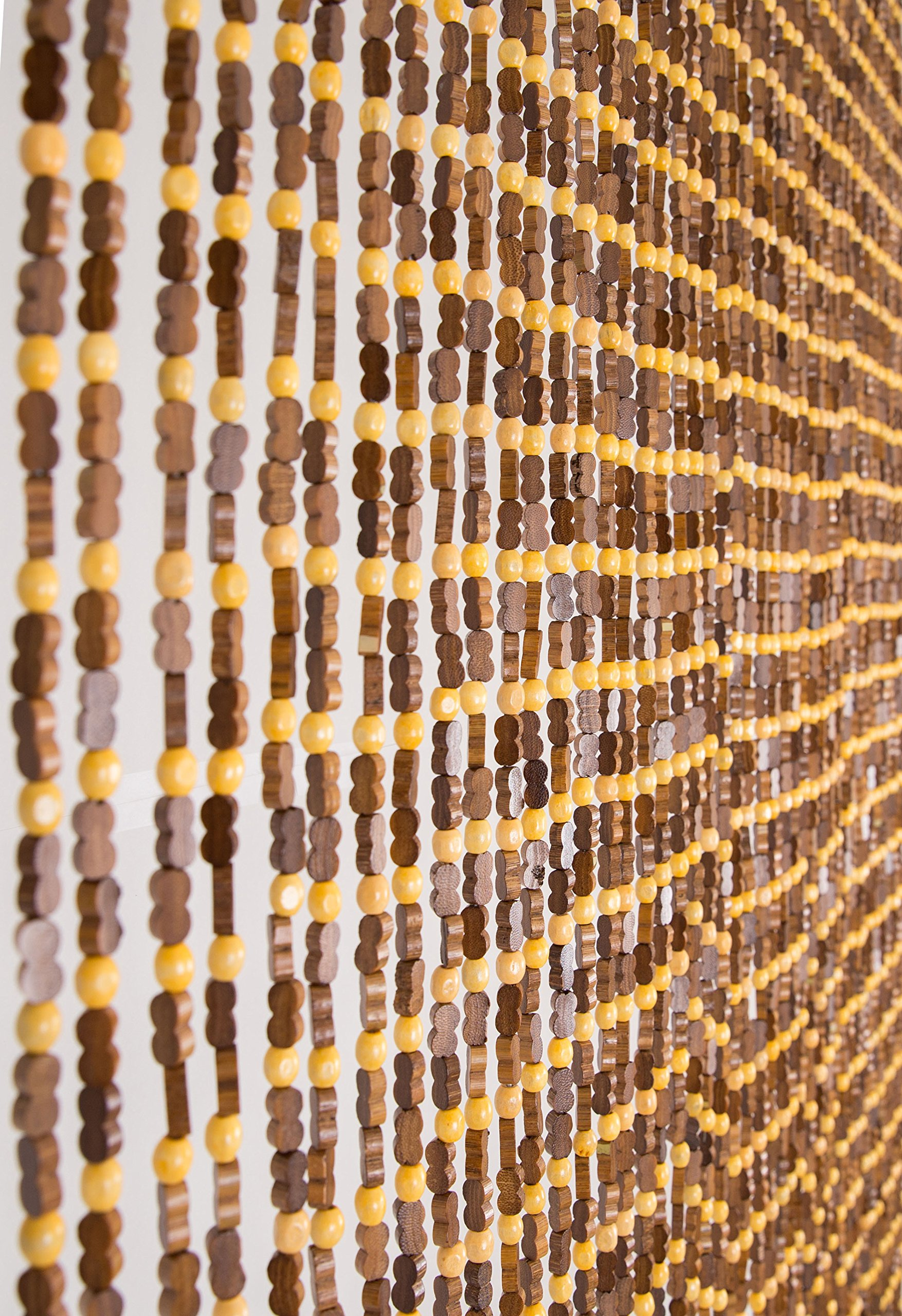 BeadedString Natural Wood and Bamboo Beaded Curtain-45 Strands-77 High-Plain Design-Bamboo and Wooden Doorway Beads-Boho Bohemian Curtain-35.5'' W x 77'' H-SunshineBr by BeadedString (Image #3)