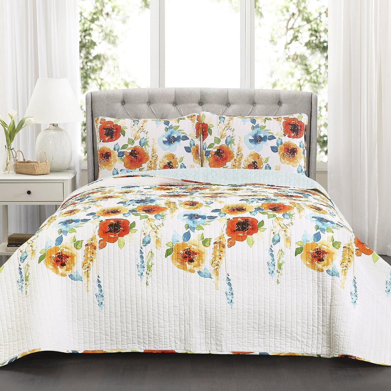 Lush Decor 3 Piece Percy Bloom Quilt Set Full/Queen Tangerine/Blue