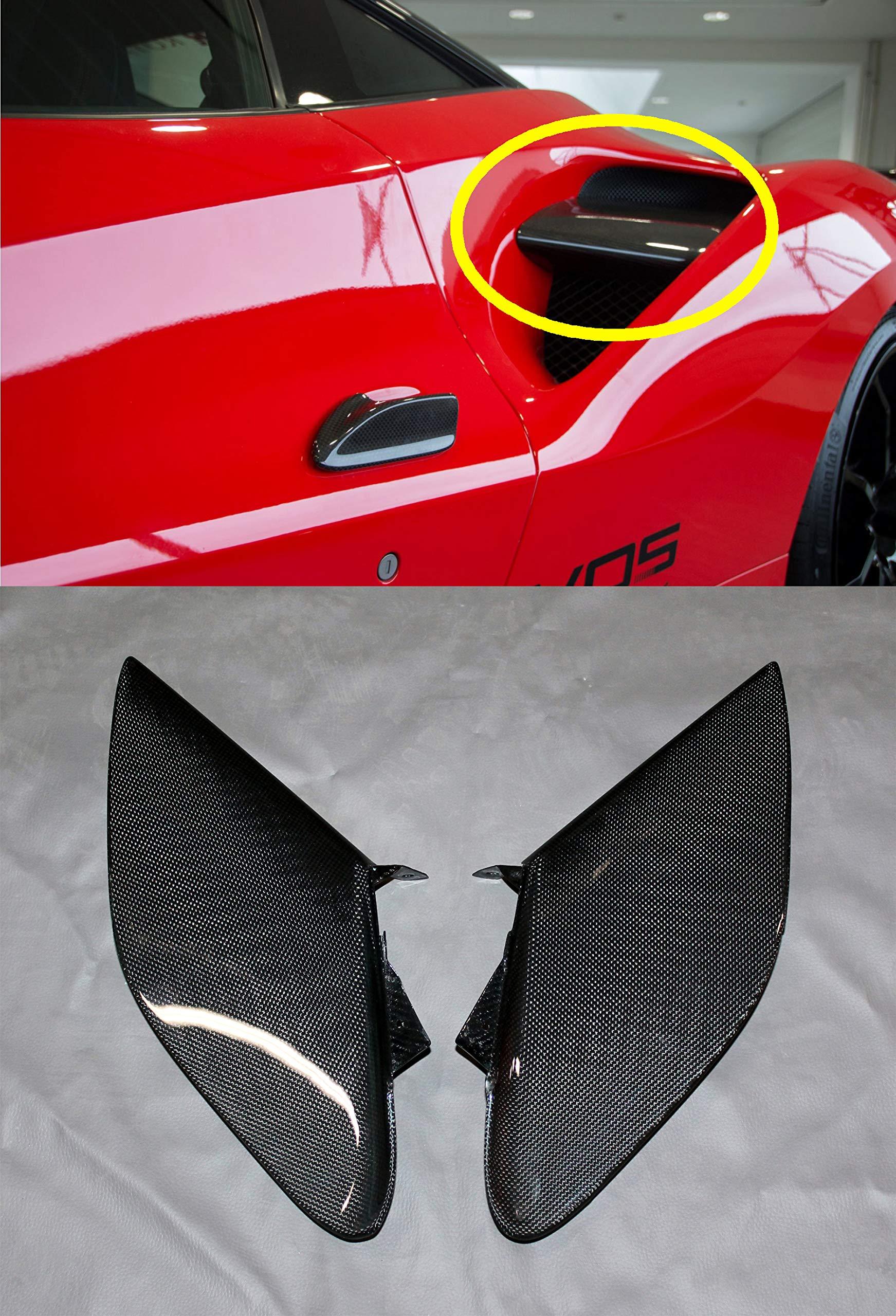 Ferrari style – Carbon Fiber 1x1 Plain Weave – Side Air Intake Flaps Trim – Air Vent Cover set 2 pcs – for Ferrari 488 GTB