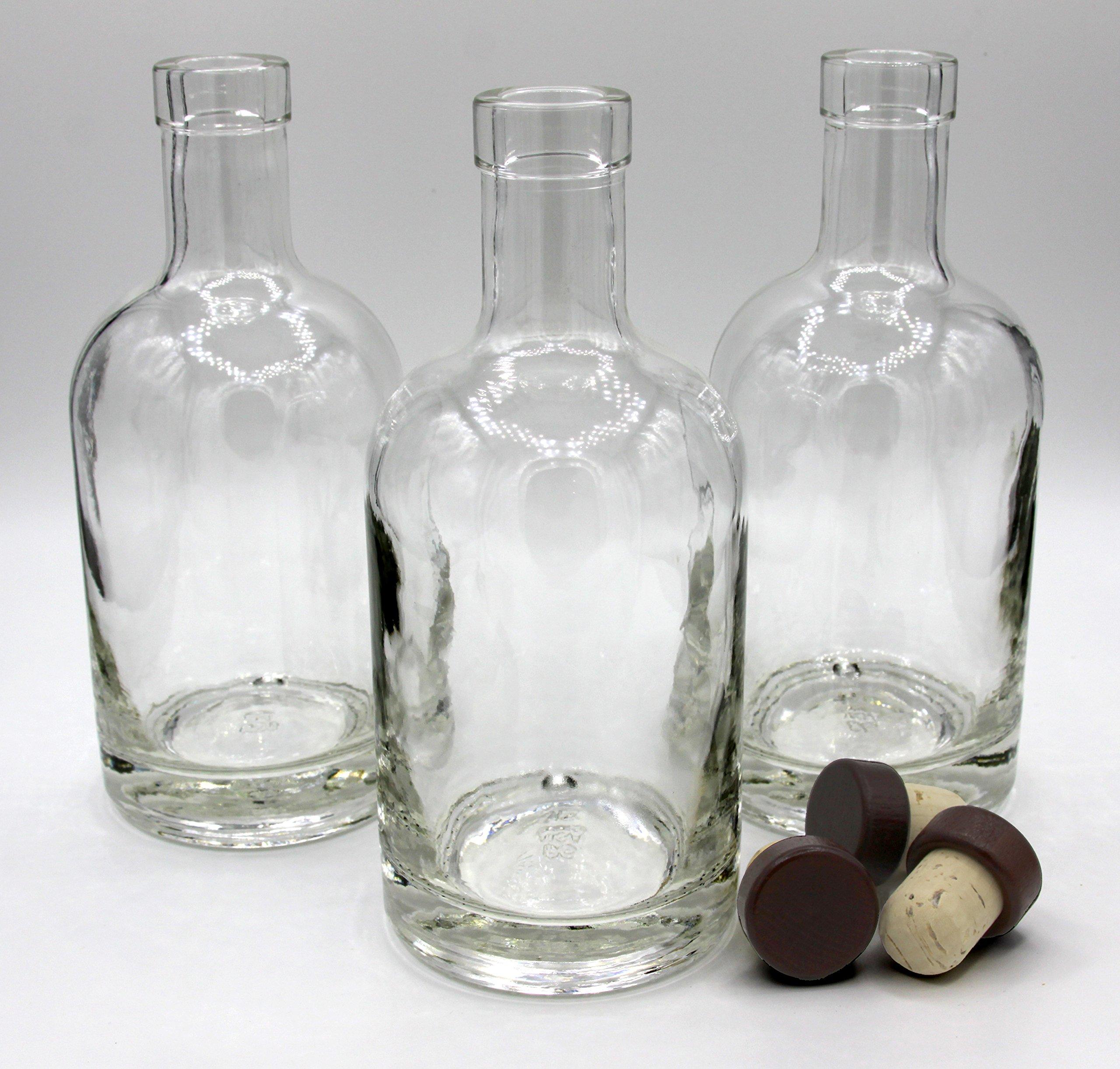 Nordic Bottles - 3 Pack - 375ml (12oz.) Bottles with Dark Wood Bar Top Cork Caps