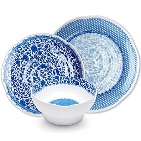 Q Squared Heritage 12-Piece Professional Grade, BPA-Free, Shatterproof, Melamine Dinnerware Set, Many Collection Options