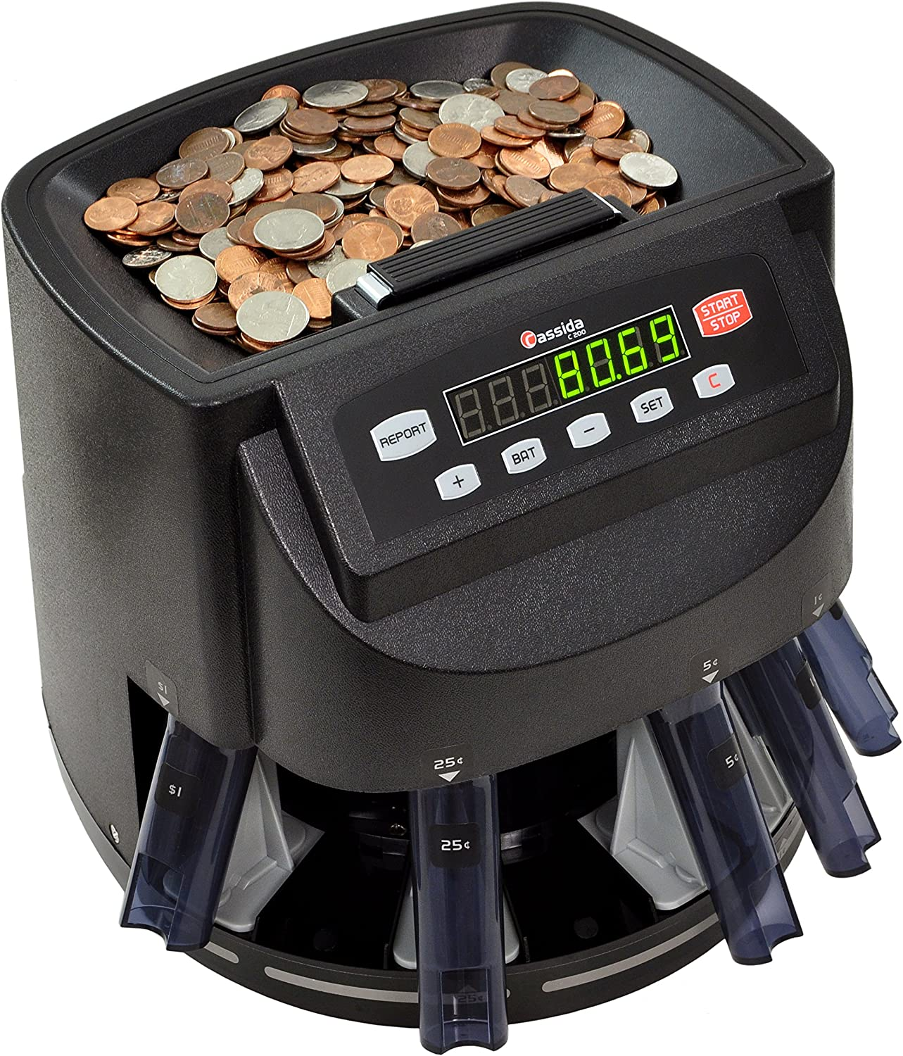 Cassida C200 Coin Sorter, Counter and Roller,Black