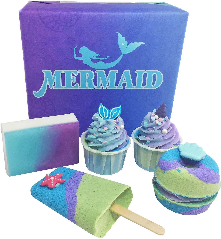 Set de regalo de baño bomba/sirena baño tesoro/hecho a mano jabón/Bálsamo para Labios/baño Trufas/baño Melt/sales de baño (sirena) Natures Soap