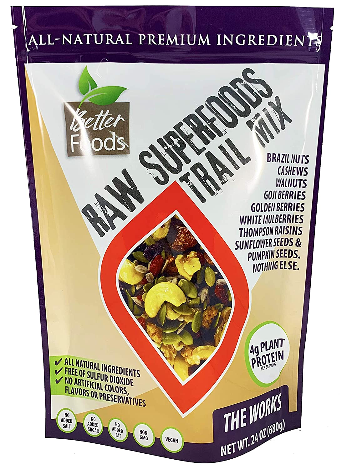 Raw Superfoods Trail Mix - The Works (Goji Berries, Golden Berries, Mulberries, Raisins, Brazil Nuts, Cashews, Walnuts, Pumpkin and Sunflower Seeds)