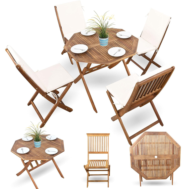 Gartenmöbel Set aus Holz inkl. Auflagen in creme-weiss ...