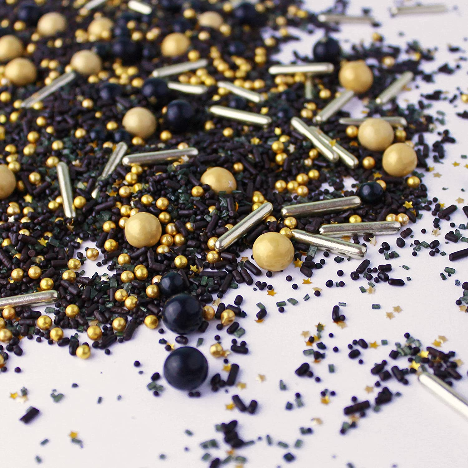 Black Gold Dessert Sprinkles Graduation New Year's Christmas Glam Colorful Candy Sprinkles Mix For Baking Edible Cake Decorations Cupcake Toppers Cookie Decorating Ice Cream Toppings, 2OZ(sample size)