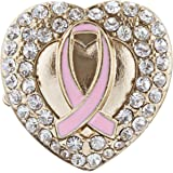 Pink Ribbon Breast Cancer Awareness Jewelry Crystal Heart Stretch Ring Gold