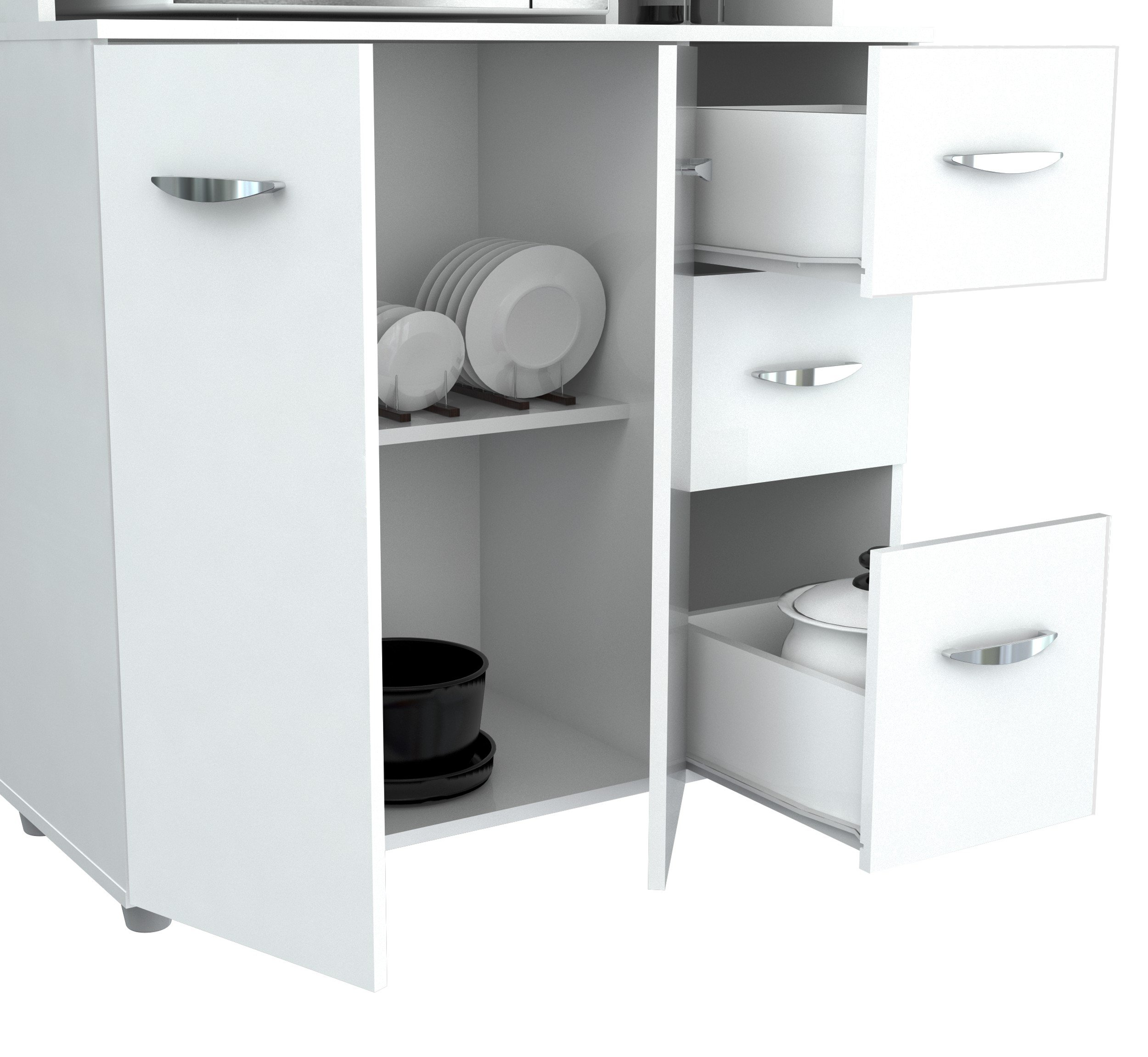 Inval America 4 Door Storage Cabinet with Microwave Cart, Laricina White by Inval America (Image #4)