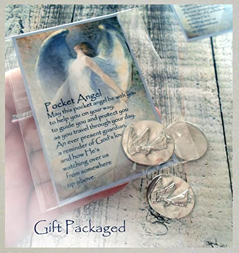 Pocket Angel, Gift Packaged with Card and Prayer, Good Luck Charm, Lucky  Protection Token, Amulet