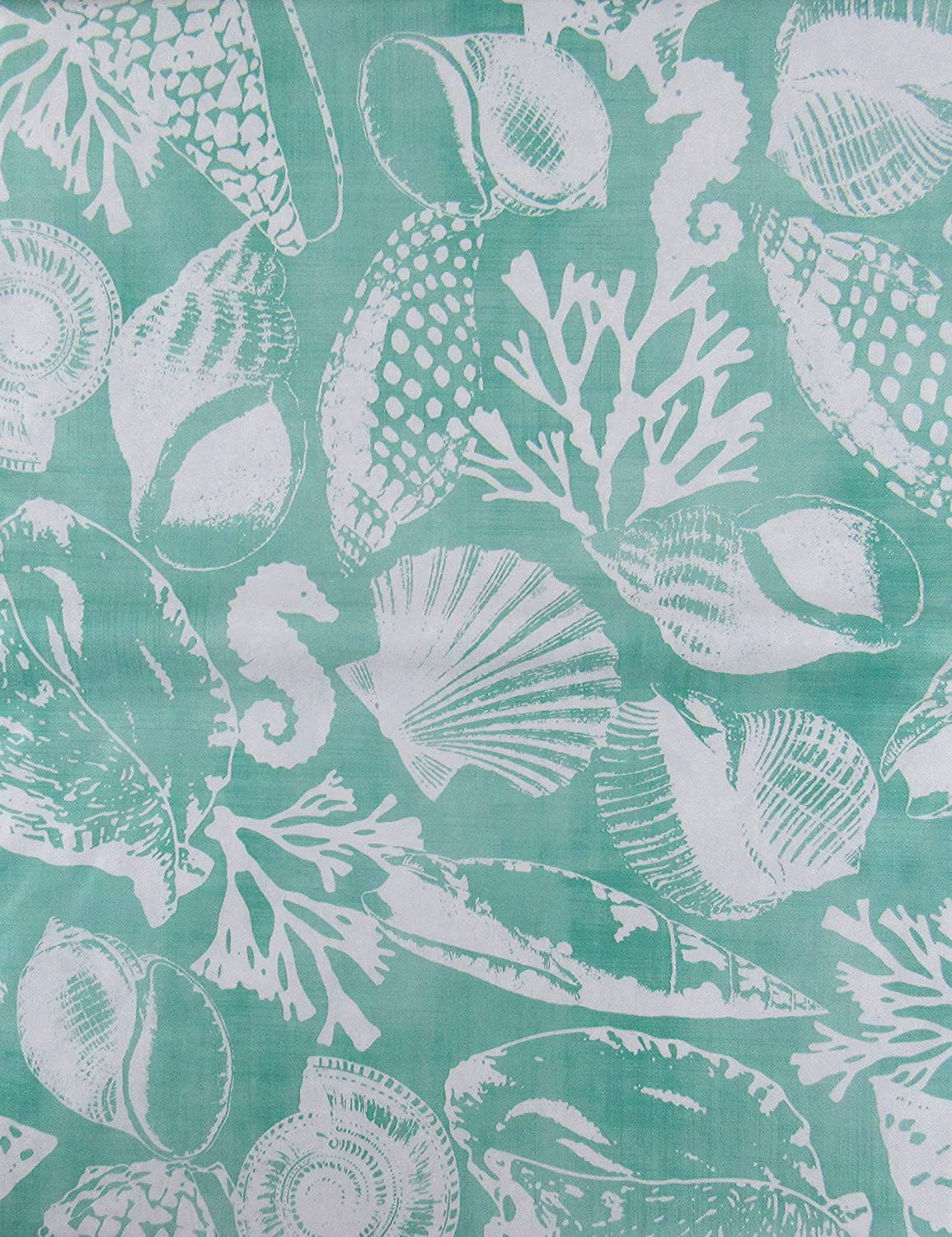 52 x 70 Oblong Seashells White on Turquoise Vinyl Flannel Back Tablecloth Seahorses and Coral