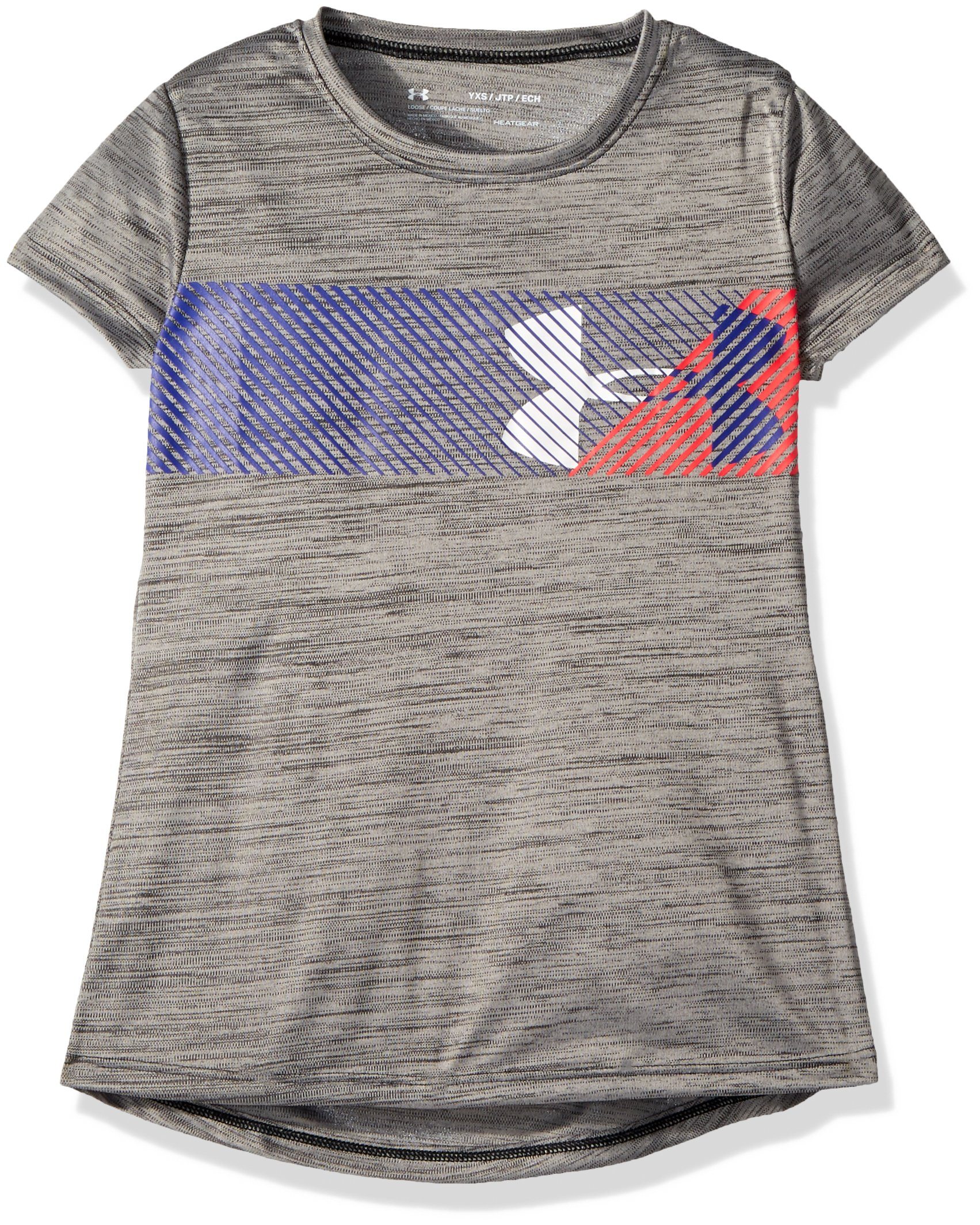 Under Armour Girls' Hybrid Big Logo T-Shirt, Black /Penta Pink, Youth X-Small
