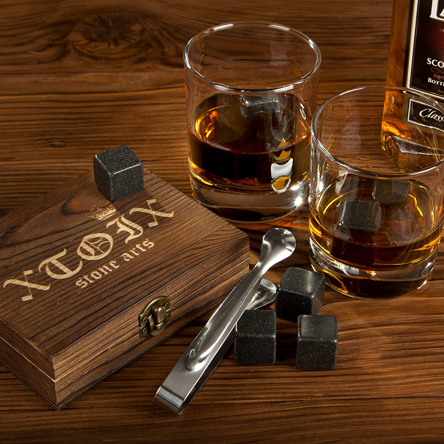 Premium Whiskey Stones Rocks - Gift Set for Chilling Drinks - Set of 9 Granite Dark Drink Chilling Cubes for Scotch Whiskey Irish and Wine Drinks - Nice Whiskey Ice Stones Gift Idea for Men Women