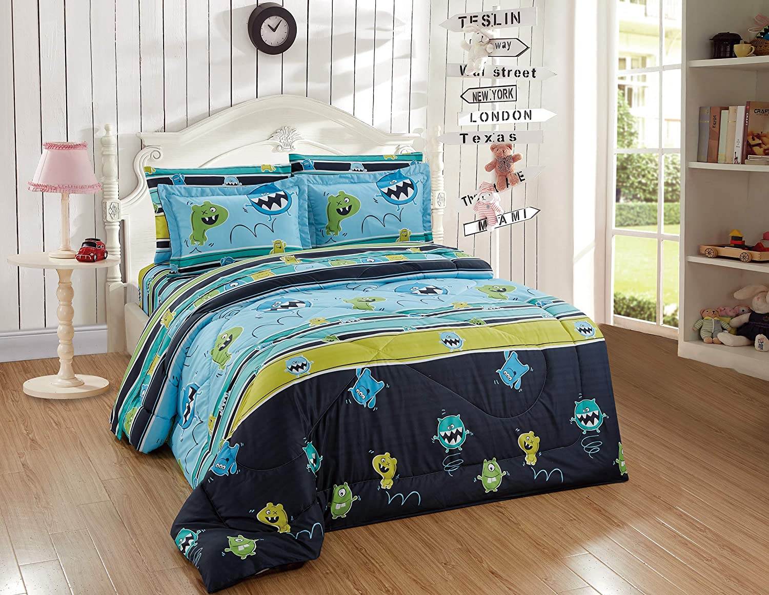 Better Home Style Green Blue Jumping Monsters Striped Fun Design 7 Piece Comforter Bedding Set for Boys/Kids/Teens Bed in a Bag with Sheet Set # Monster (Full)