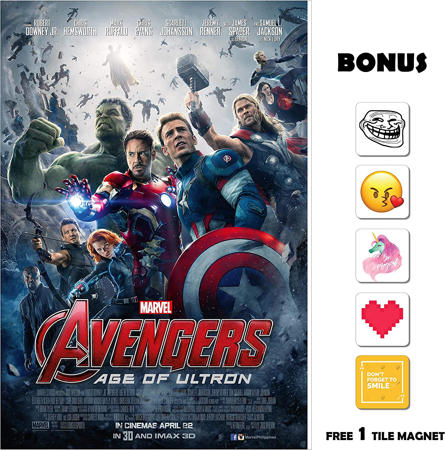 Amazon Com Movie Poster Avengers Age Of Ultron 2015 13 In X 19 In Borderless Free 1 Tile Magnet Posters Prints