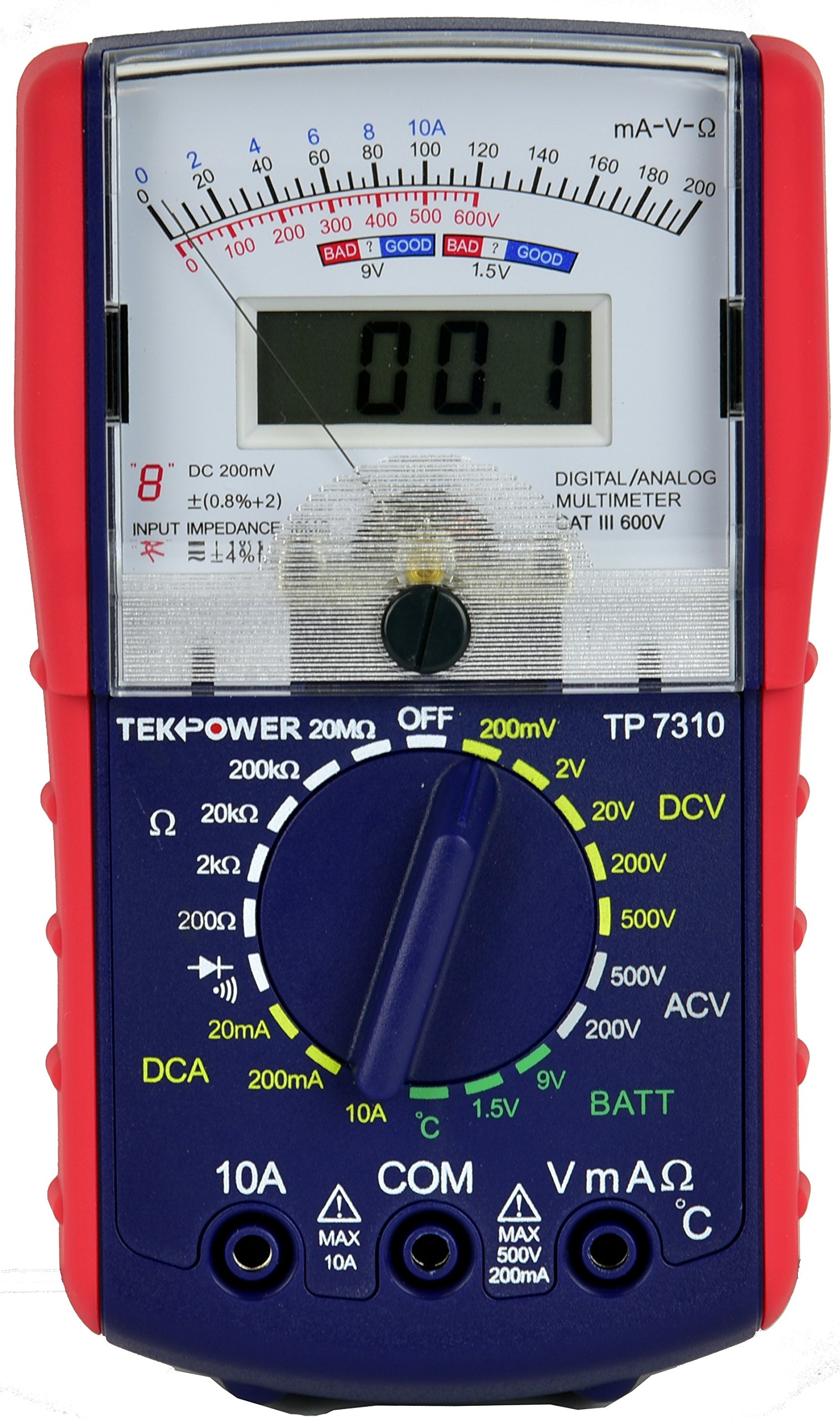 Tekpower TP7310 Hybrid Dual Display: Analog & Digital Multimeter with Battery and Ambieant Temperature Tester