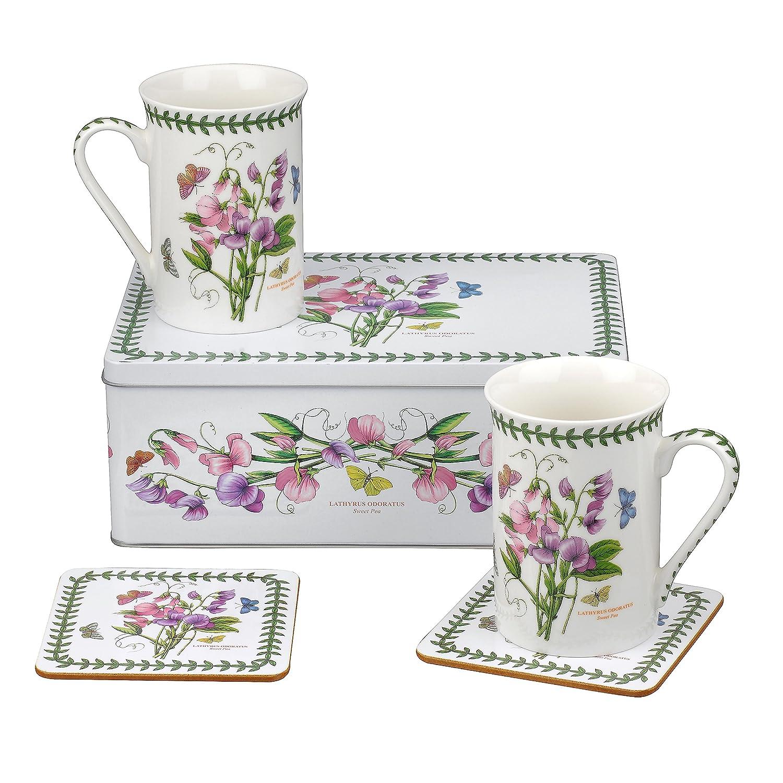 Motif pois de senteur du jardin botanique de Tin 5 piè ces, Porcelaine, Multicolore, 8.5 x 12 x 9.5 cm 8.5x 12x 9.5cm Portmeirion BGIA8579-XG