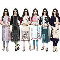 1 Stop Fashion Women's Crepe Stitched Kurti Combo Pack of 6 (Multi-Coloured) Lava27