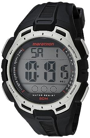 f27ed8383 Amazon.com  Marathon by Timex Men s TW5K94600 Digital Full-Size  Black Silver-Tone Resin Strap Watch  Timex  Watches