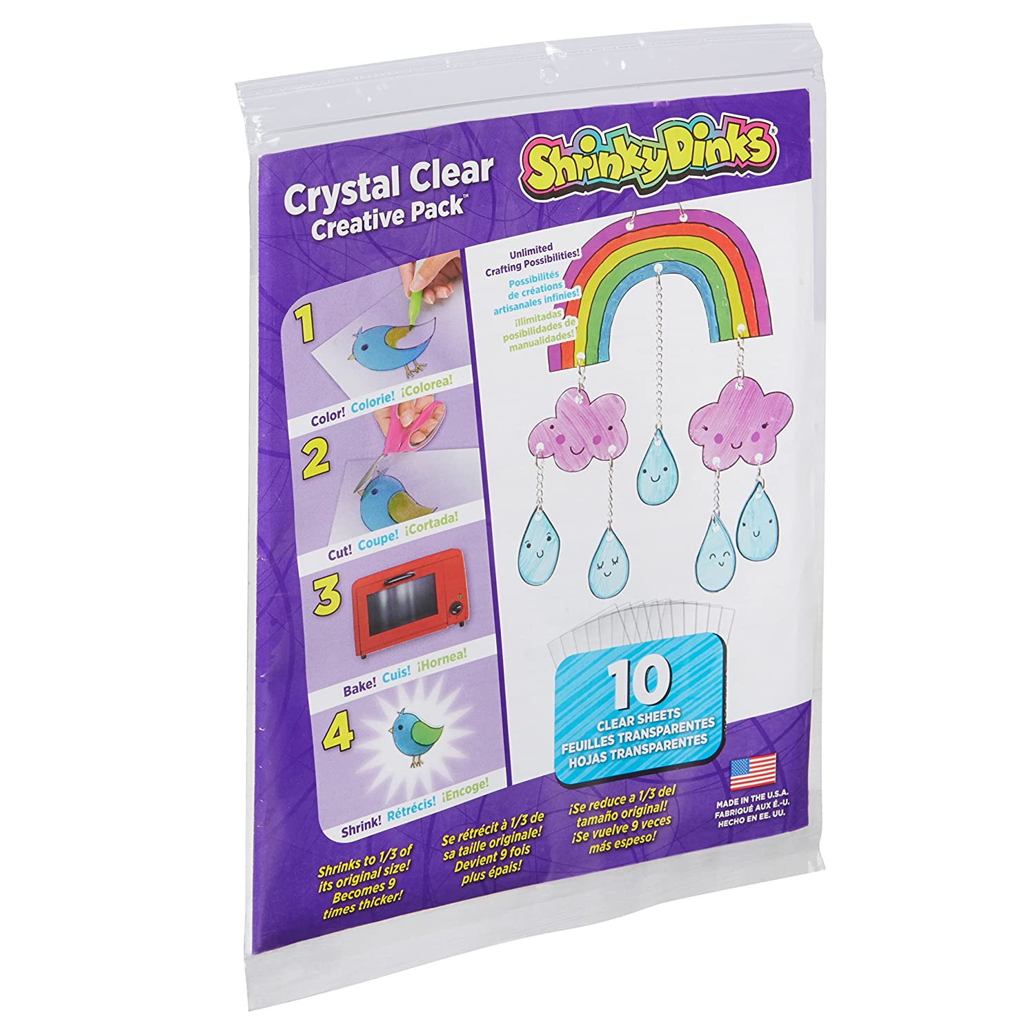 Shrinky Dinks Creative Pack 10 Hojas De Cristal Transparente