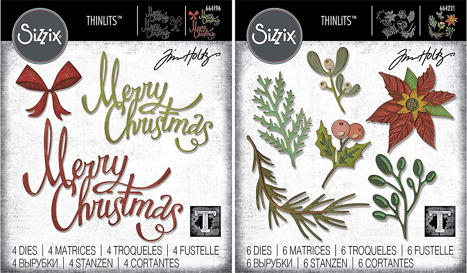 Tim Holtz Sizzix Seasonal 2019 Thinlit Sets - Merry Christmas Ribbon and Large Funky Festive - 2 Items