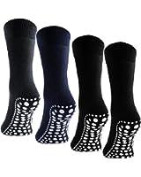 BRUBAKER 4 Pairs Slip Resistant Non Skid Soles Socks Sizes: US 4 - 14