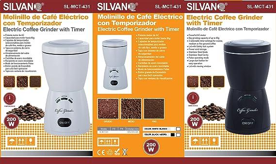 Molinillo de café eléctrico con temporizador (Negro): Amazon.es: Hogar