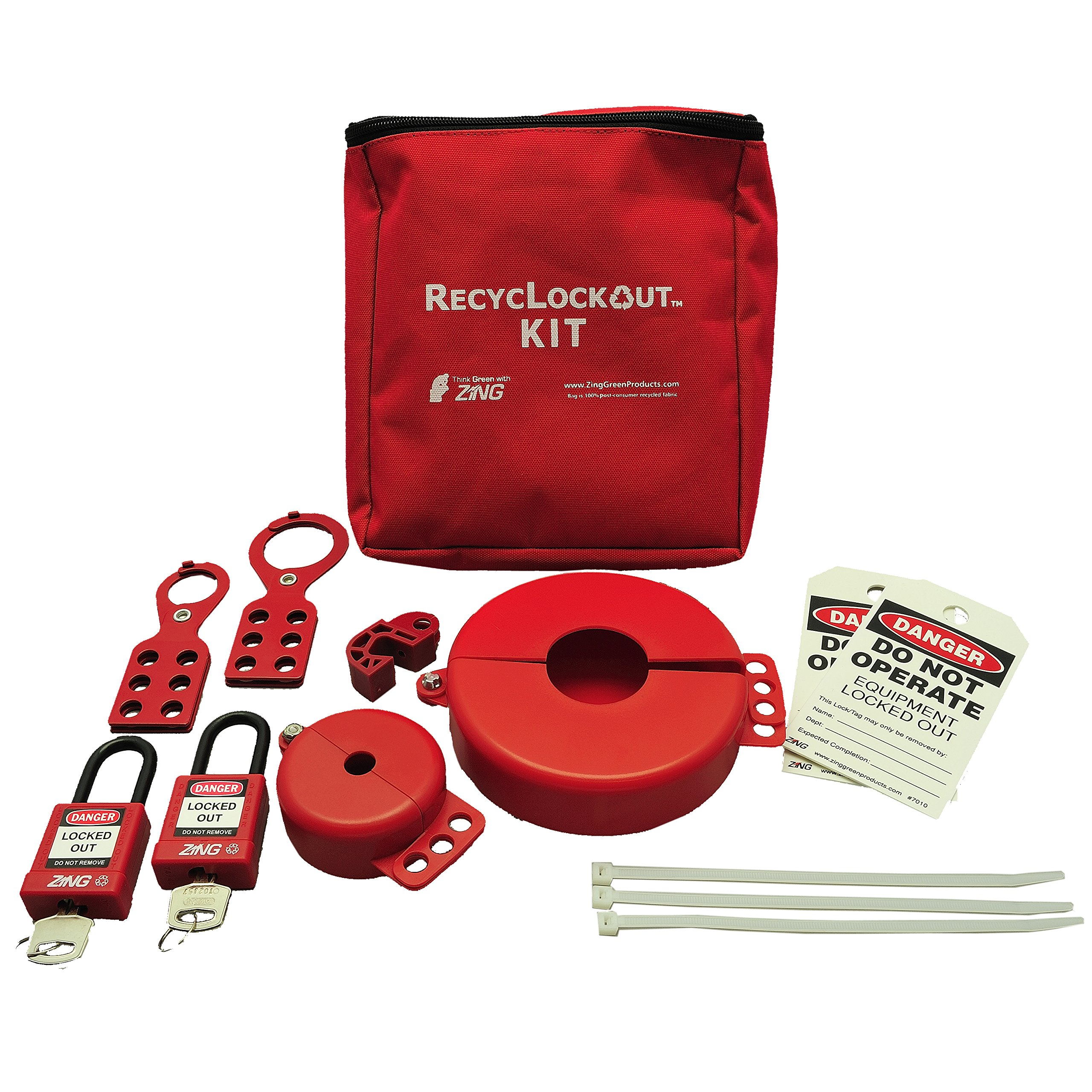 ZING 7120 RecycLockout Lockout Tagout Kit, 12 Component, Valve Lockout by Zing Green Products (Image #1)