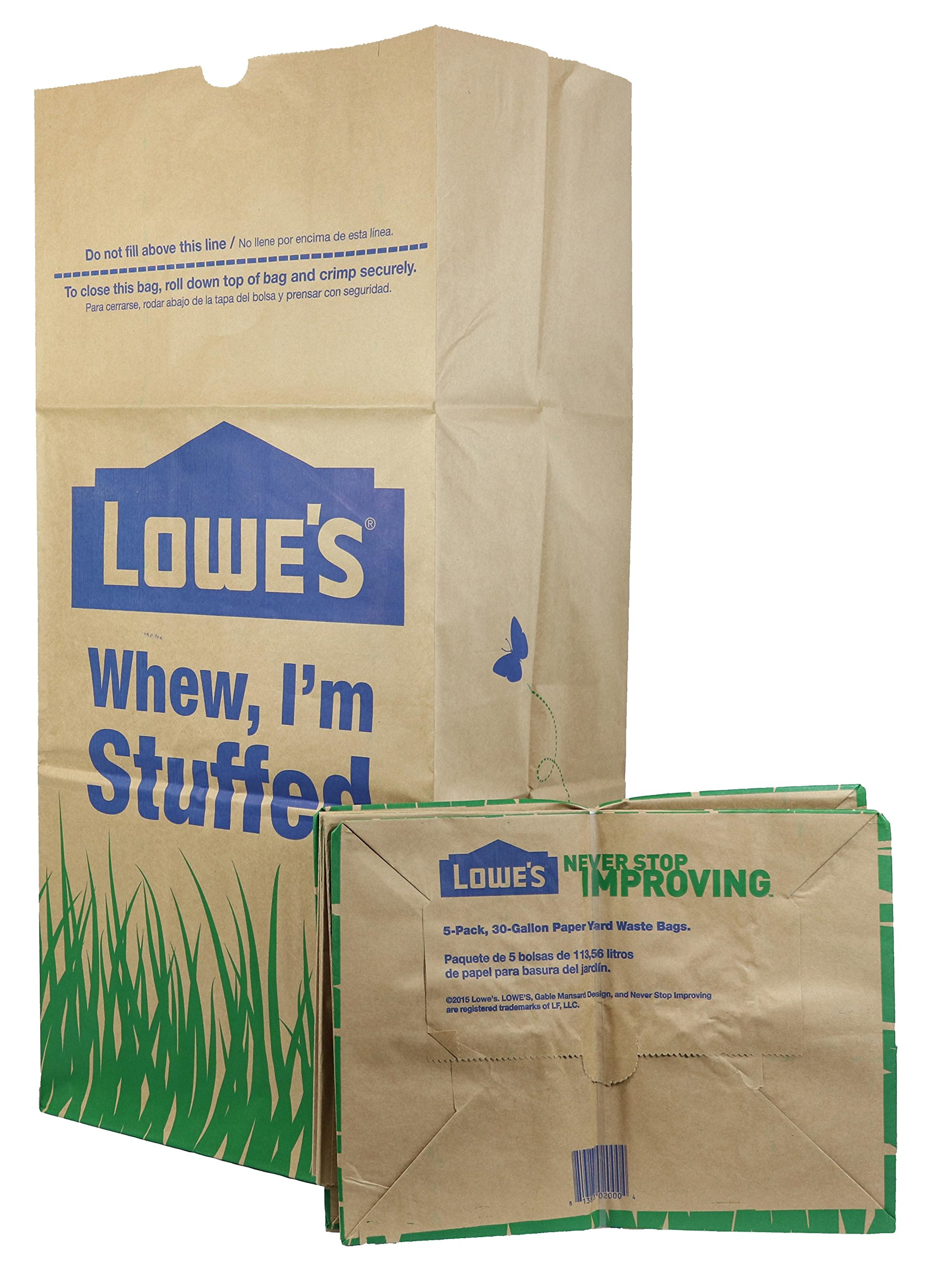 Lowe's H&PC-75419 (25 Count) 30 Gallon Heavy Duty Brown Paper Lawn and Refuse Bags for Home, Original Version by Lowe's (Image #1)